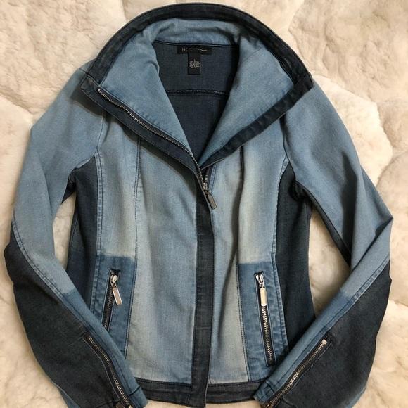 INC International Concepts Jackets & Blazers - NWOT....Colorblocked Denim Moto Jacket